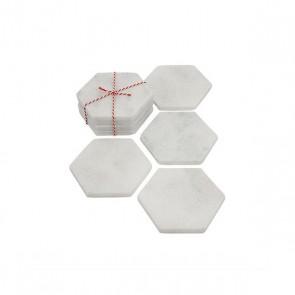 Stoned witmarmeren onderzetter hexagon